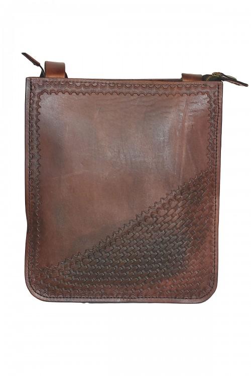 Poşet Model Hasır İşleme Kahverengi Çanta